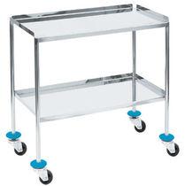 Table à instruments 2 étagères / sur roulettes / en acier inoxydable