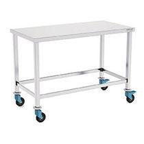 Table de travail / pour salle blanche / rectangulaire / sur roulettes
