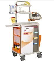 Chariot d'urgence / avec plateau / avec support défibrillateur