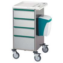 Chariot multifonction / avec tiroir / avec porte-déchet / en acier inoxydable