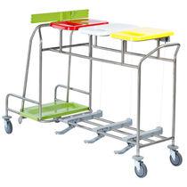 Chariot de ménage / à linge / avec support sac poubelle / 3 sacs