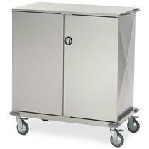 Chariot de transport / à linge propre / avec étagère / 2 portes