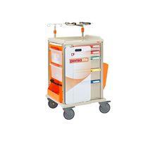 Chariot d'urgence / pour défibrillateurs / avec tige porte-sérum / avec support bouteille d'oxygène