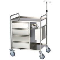 Chariot d'anesthésie / 4 tiroirs / avec étagère / avec tige porte-sérum