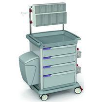 Chariot de transport / à pansement / multifonction / avec bac latéral