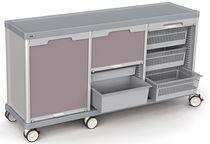 Chariot de transport / de ménage / avec tiroir / à triple module