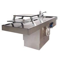 Table d'autopsie / rectangulaire / en acier inoxydable / avec évier
