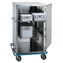 Chariot de transport / pour container de stérilisation / avec étagère / avec porte battante