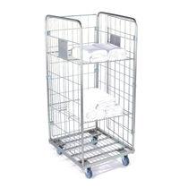 Chariot de transport / à linge propre / 3 étagères / à structure semi-ouverte
