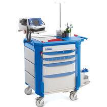 Chariot d'urgence / pour défibrillateurs / avec tiroir / avec bac