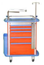 Chariot d'urgence / de médicaments / avec bac latéral / avec tiroir
