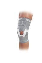 (immobilisation orthopédique) orthèse de genou / avec contrefort rotulien / avec renforts flexibles / avec ouverture