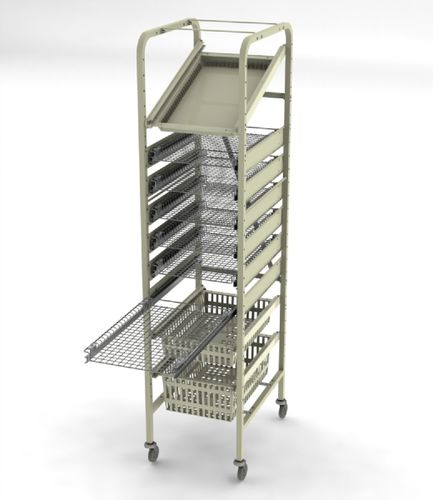 chariot de transport / pour instruments / avec étagère / à structure ouverte