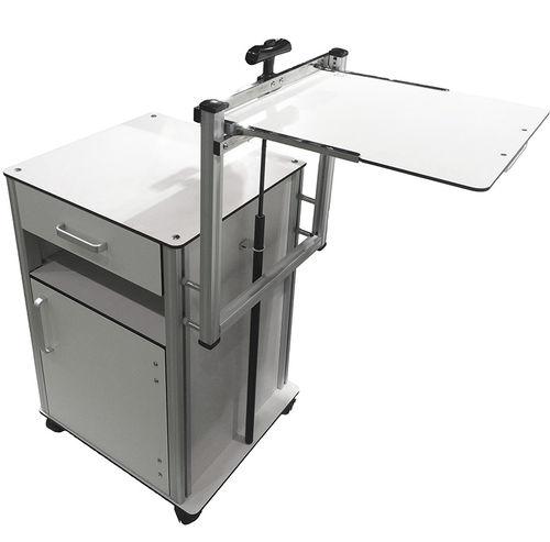 table de chevet avec table de lit intégrée / sur roulettes