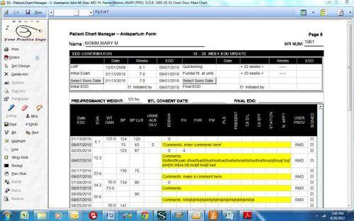 Module logiciel pour examen obstétrique / de gestion / de diagnostic / de partage OB/GYN Prime Clinical Systems, Inc.