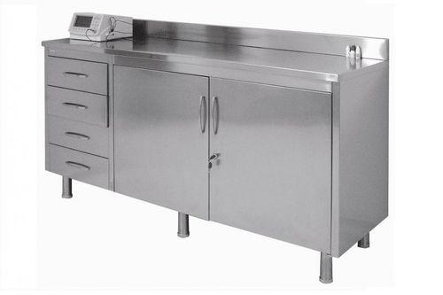 armoire de salle d'opération / avec tiroir / 2 portes / en acier inoxydable