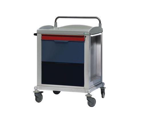chariot multifonction / pour dossiers médicaux / 3 tiroirs / avec étagère