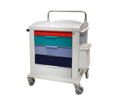chariot multifonction / 5 tiroirs / avec étagère / avec plateau