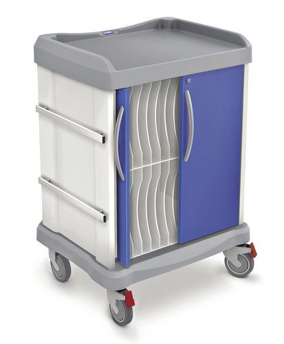 chariot de transport / à dossier médical / avec support défibrillateur / accès horizontal