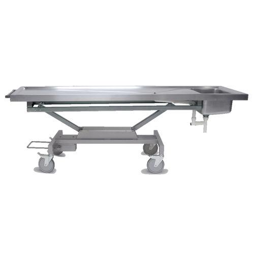 table d'autopsie / de dissection / rectangulaire / sur roulettes