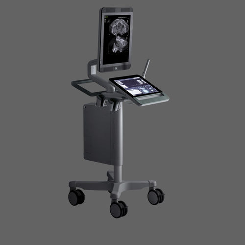 échographe sur plateforme, compact / pour échographie urologique / noir et blanc / écran tactile