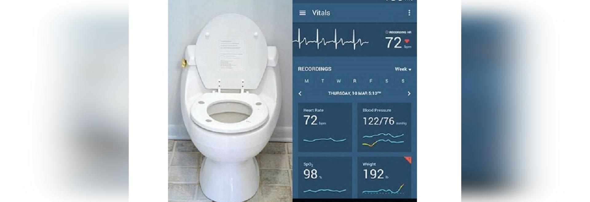 Le siège des toilettes mesure automatiquement le centre serveur des paramètres cardiaques pour surveiller la santé de coeur