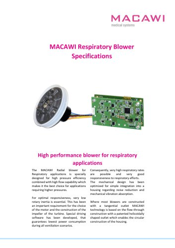 MACAWI Respiratory Blower Specifications