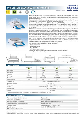 PRECISION BALANCES PS 3Y FOR CPG