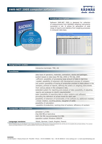 SWR-NET 2005 computer software