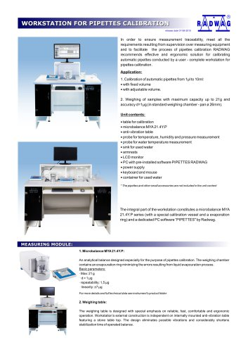 WORKSTATION FOR PIPETTES CALIBRATION