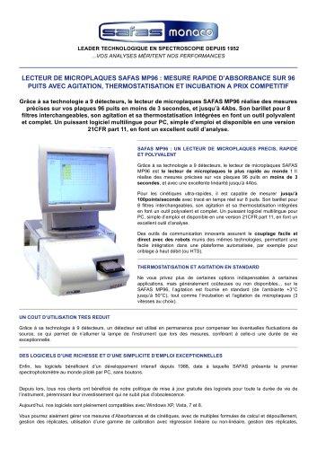 LECTEUR DE MICROPLAQUES SAFAS MP96