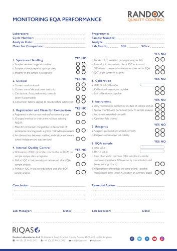 RIQAS Troubleshooting checklist