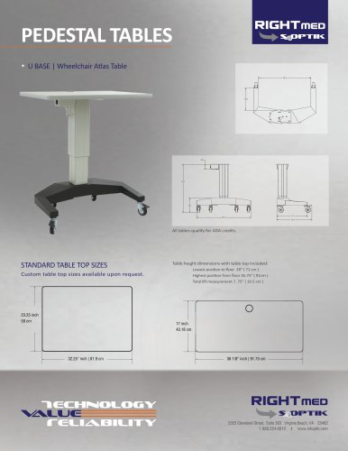 PEDESTAL TABLES U BASE | Wheelchair Atlas Table