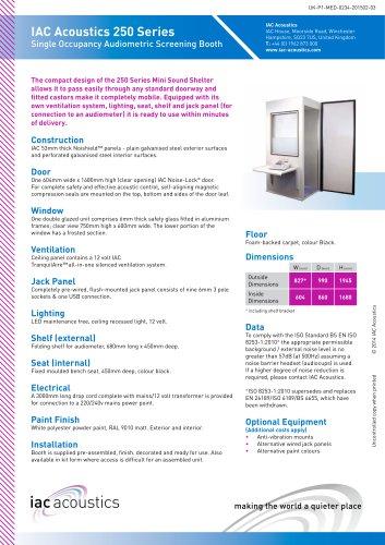 IAC Acoustics 250 Series Single Occupancy Audiometric Screening Booth