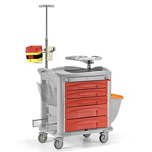 chariot d'urgence / de stockage / pour instruments / pour dispositifs médicaux