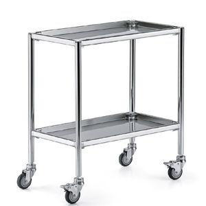 chariot de service / pour instruments / 2 plateaux