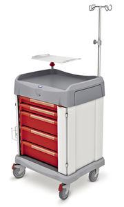 chariot d'urgence / à linge / avec tige porte-sérum / avec support défibrillateur
