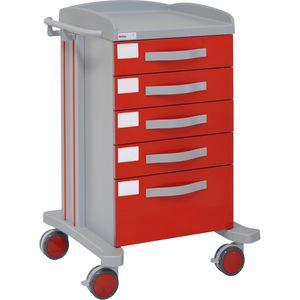 chariot multifonction / 5 tiroirs / hospitalier / en aluminium
