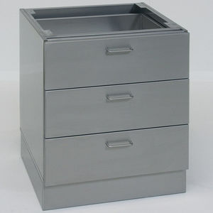 armoire pour bases / de laboratoire / 3 tiroirs / en acier inoxydable