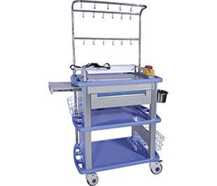 chariot de soins / pour défibrillateurs / avec bac latéral / avec tiroir