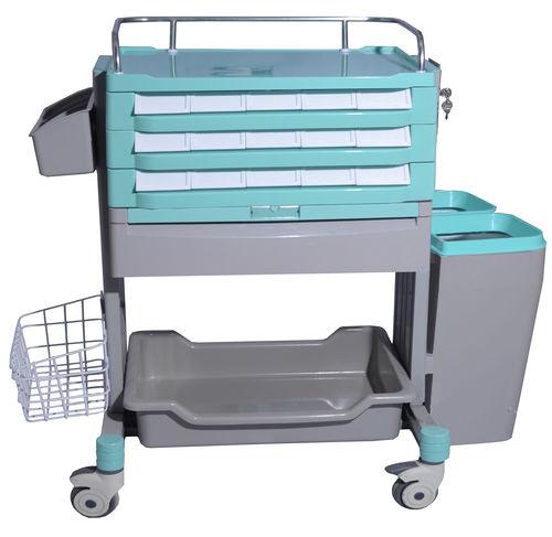 chariot de stockage / de soins / de médicaments / avec porte-déchet