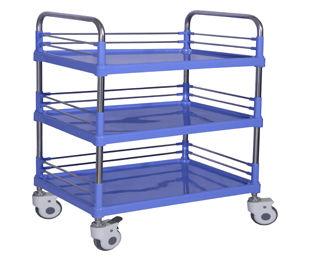 chariot de transport / à pansement / avec étagère / 3 plateaux