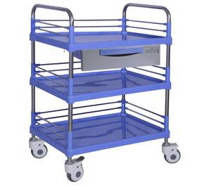 chariot de transport / à pansement / avec tiroir / 3 plateaux