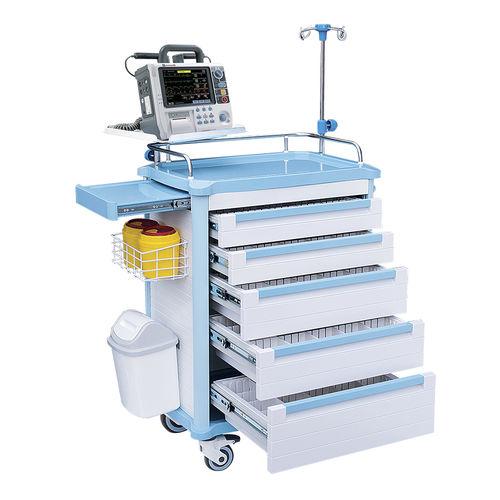chariot d'urgence / de distribution de médicaments / pour prélèvement sanguin / de suture