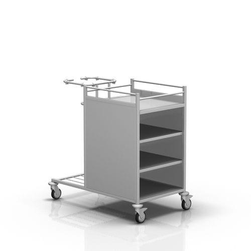 chariot de transport / à linge sale / à linge propre / avec plateau