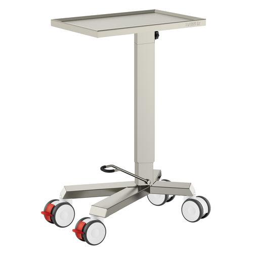 table de Mayo sur roulettes / en acier inoxydable / avec plateau tournant
