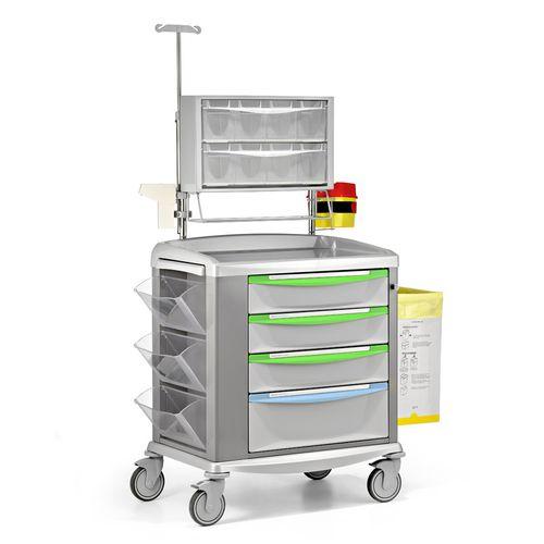 chariot de transport / de stockage / pour médicament / 4 tiroirs
