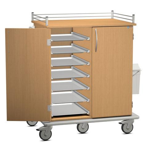 chariot de distribution de plateaux / de repas / avec porte-déchet / 2 portes
