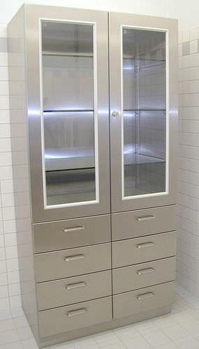 armoire pour instruments / de salle d'opération / avec porte battante / en acier inoxydable