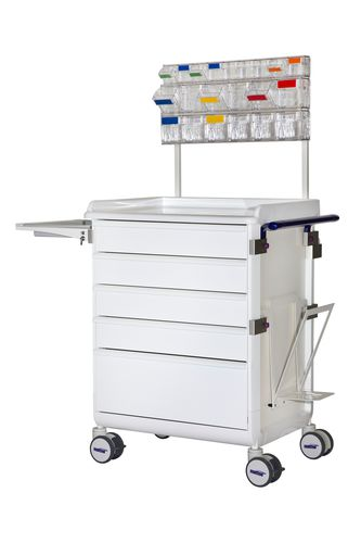 chariot de soins / à usage général / 5 tiroirs / avec plateau